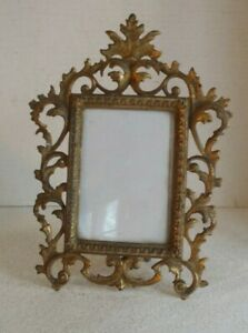 Victorian Cast Iron Photo Picture Frame Table For Military Photo