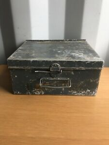 Vintage Trunk Deed Box Storage Documents Small Tool Metal Tin Retro