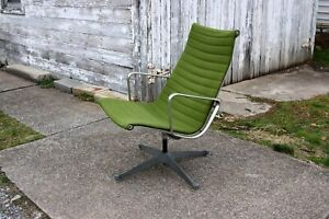 Eames Herman Miller Aluminum Group Lounge Chair Mid Century Modern Green