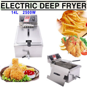 2500w 14l Electric Deep Fryer Commercial Restaurant Fast Food W Timer Drain