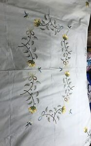 Antique French Hand Embroidery Silk Thread Birds 52 Tablecloth