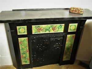 Aesthetic Movement Cast Iron Victorian Fireplace Mantle Rare Example