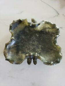 Nice Hand Carved Chinese Spinach Green Jade Stone Leaf Dish