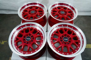 15 5x100 5x114 3 Red Wheels Fits Civic Eclipse Accord G35 Mazda 3 6 5 Lug Rims