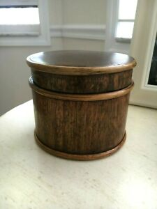 Treen Ware Wood Wooden Round Covered Box With Lid