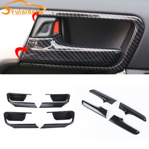 For Toyota Prado Fj150 2010 2019 Abs Carbon Fiber Inner Door Handle Frame Trim
