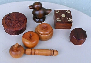 Vintage Set Of Four Treen Boxes Two Apples Duck Needle Holder