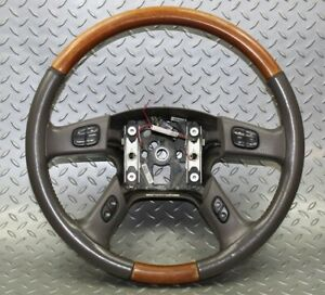 03 06 Escalade Woodgrain Leather Steering Wheel Woodgrain Cruise Radio Controls