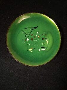 Vintage Modern Enamel And Copper Miniature Plate 3 7 8