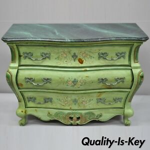 Pulaski French Louis Xv Style Green Floral Painted Bombe Commode Chest Dresser