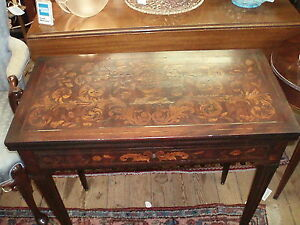 Antique Dutch Marquetry Flip Top Game Table