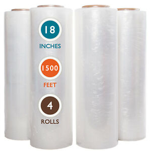 18x1500 Stretch Wrap 55 Gauge Strong Cast Stretch Film 4 Rolls