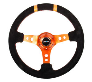 Nrg 350mm Black Suede W Orange Spokes Double Center Marks Steering Wheel