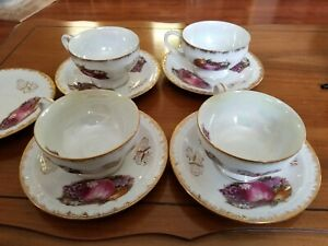 Vintage Tea Cups And Saucers Gold Trim Featuring Fruit Set Of 4