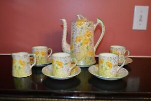 Tf S Phoenix Golden Primrose Coffee Pot Demitasse Chocolate Set Creamer Chintz