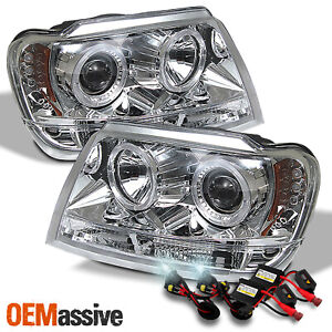 Fits 99 04 Jeep Grand Cherokee Clear Dual Halo Projector Led Headlights 6k Hid