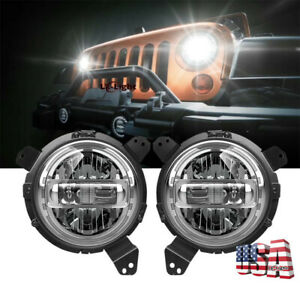 Dot Approved 7 Round Led Hi lo Beam Headlights Drl For Jeep Wrangler Jl 2018 19
