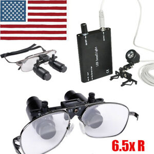 Us 6 5x 300 500mm Dental Loupes Surgical Binocular clip Led Head Light Lamp Ce