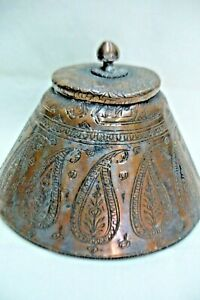 Antique Qajar Box Handmade Copper Silver Plated Floral Fine Engravings Persia