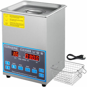 2l Digital Ultrasonic Cleaner With Heater 28 40khz Lab Stainless Steel Jewelry