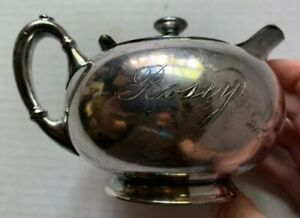 Homan Silverplate Pitcher Hot Water Pot Teapoy Engraved Name Rosey Vintage
