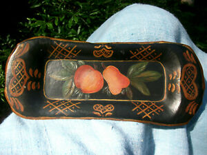Small Vintage 1948 Hand Painted Metal Toleware Tray Signed