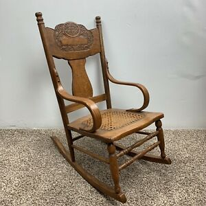 Press Back Fiddleback Rocker Cane Bottom Oak Child S Rocking Chair Bentwood Arms