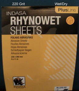 Indasa Plus 9 X 11 220 Grit Wet dry Sandpaper 50 Sheets 1 220 Free Ship