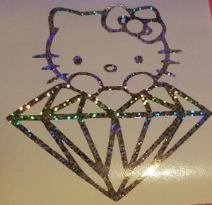 Hello Kitty Glitter Diamond Car Truck Suv Vinyl Sticker Decal