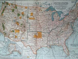1903 United States Original Antique Map Usa Showing Indian Reservations