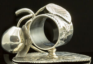 Victorian Pear And Ant Silver American Figural Napkin Holder Ring Serviette