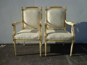 Pair Of Chairs French Armchair Louis Xvi Country Provincial Neoclassical Fluted