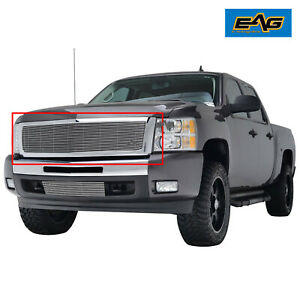 Eag Chrome Billet Grille W shell For 2007 2013 Chevy Silverado 1500