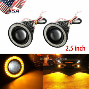 Pair 2 5inch Yellow Cob Projector Fog Light W Amber Halo Angel Eye Ring Drl 12v