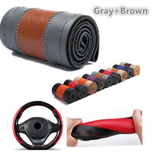 Genuine Leather Diy Car Steering Wheel Cover 38cm W Needles Thread Gray Brown