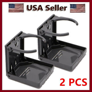 2pcs Black Universal Folding Car Auto Beverage Drink Cup Holder Stand Cupholder