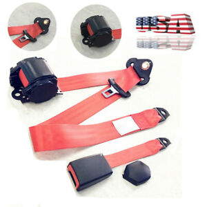 New Red 3 Point Retractable Car Safety Seat Belts Lap Seatbelts For Safe Driving