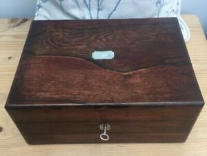 Vintage Mahognay Wooden Sewing Box Inner Tray Working Lock Key Contents