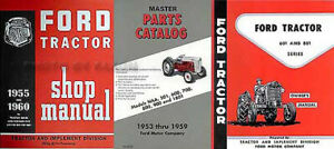 1957 1958 1959 1960 Ford 601 801 Tractor 3 Manual Set Shop Owners Parts Books