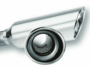 Borla 2 25in Inlet 4in Round Rolled Angle Cut Resonated X 13in Long Exhaust Tip
