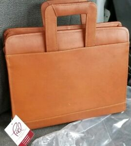 Piel Leather Full grain Colombian Leather Three ring Binder Saddle Briefcase New