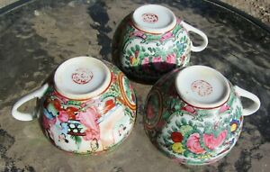 Three Antique Chinese Porcelain Rose Medallion Teacups 3 5 8 Wide X 2 Tall
