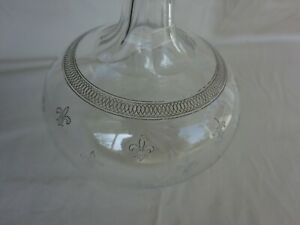Antique Victorian Needle Etched Fleur De Lis Clear Glass Liquor Decanter Bottle