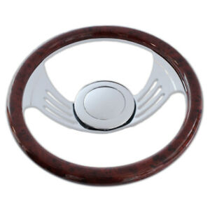 14 Gaap Steering Wheel 9 Hole W simulated Cherry Wood Wrap Smooth Horn Button