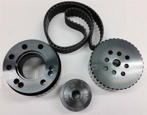 Sbc Small Block Chevy Gilmer Belt Drive Pulley Set Black Lwp 283 400 Bonus Belt