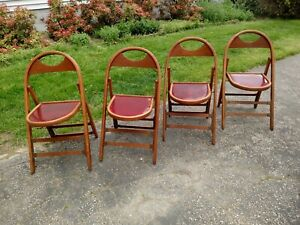 Set Of 4 Vtg Wooden Curved Back Folding Funeral Parlor Chairs Vgc Red Seats