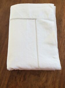 Vintage French Linen Mix Monogrammed Sheet With Extensive Ladderwork Border