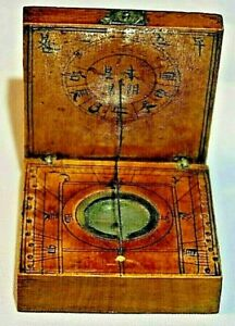 Old Antique Chinese Wood Diptych Sundial Compass 2 Square