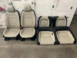 2015 2017 Ford Mustang Gt Cream Leather Front Rear Seats Power Oem