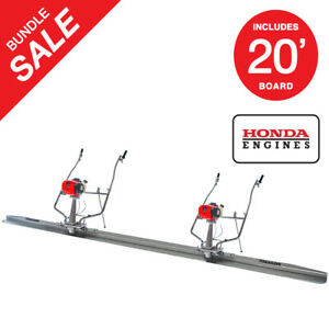 Two 1 8hp Honda Vibrating Concrete Power Screed Motor 20ft Finishing Blade Board